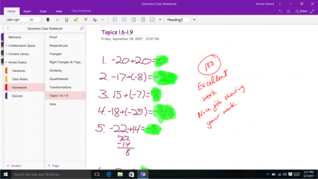 OneNote has education features.