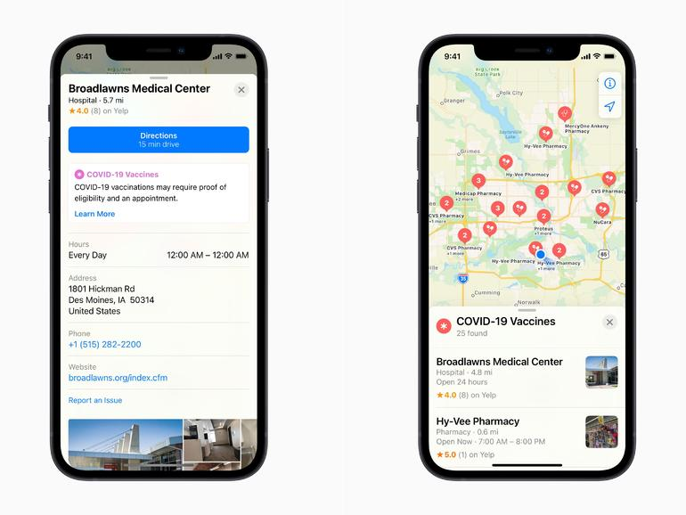 Apple adds COVID vaccine sites to Maps to help users find appointments