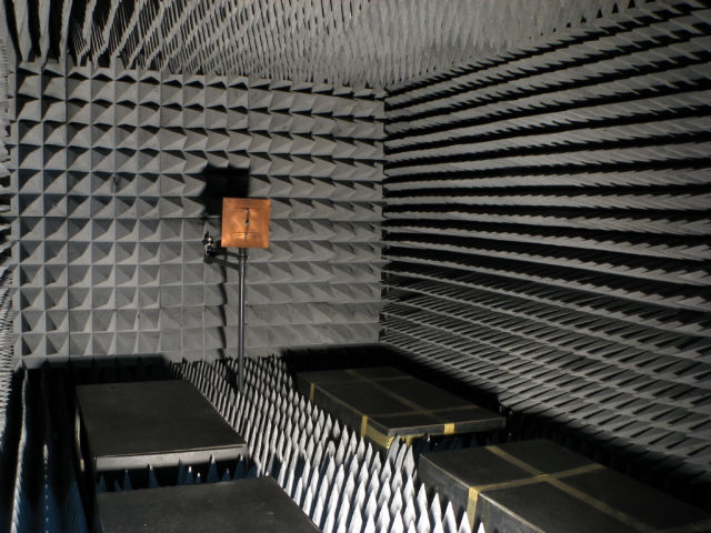 Radio frequency anechoic chamber, Antennas Research Group, Democritus University of Thrace, Greece. The interior surfaces are covered with pyramidal Radiation Absorbent Material (RAM) which are made of rubberized foam impregnated with mixtures of carbon and iron.