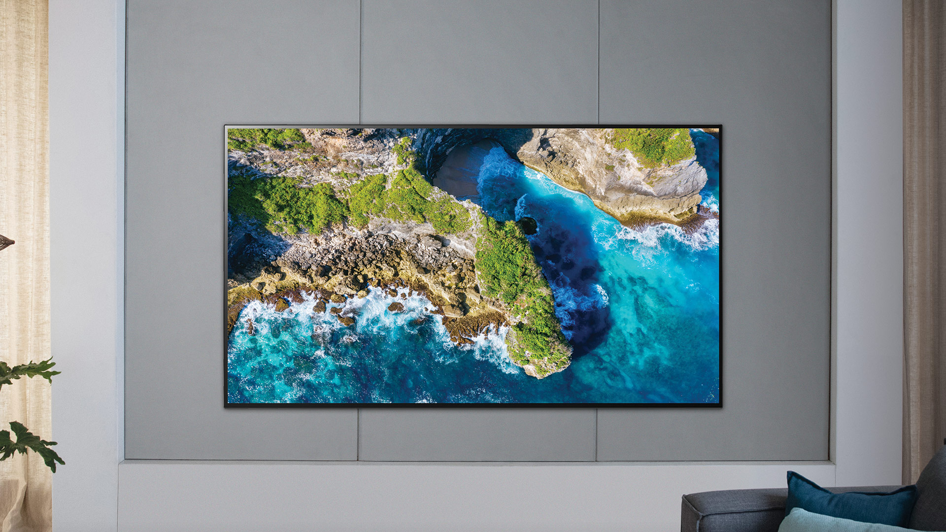 LG OLED hanging on wall