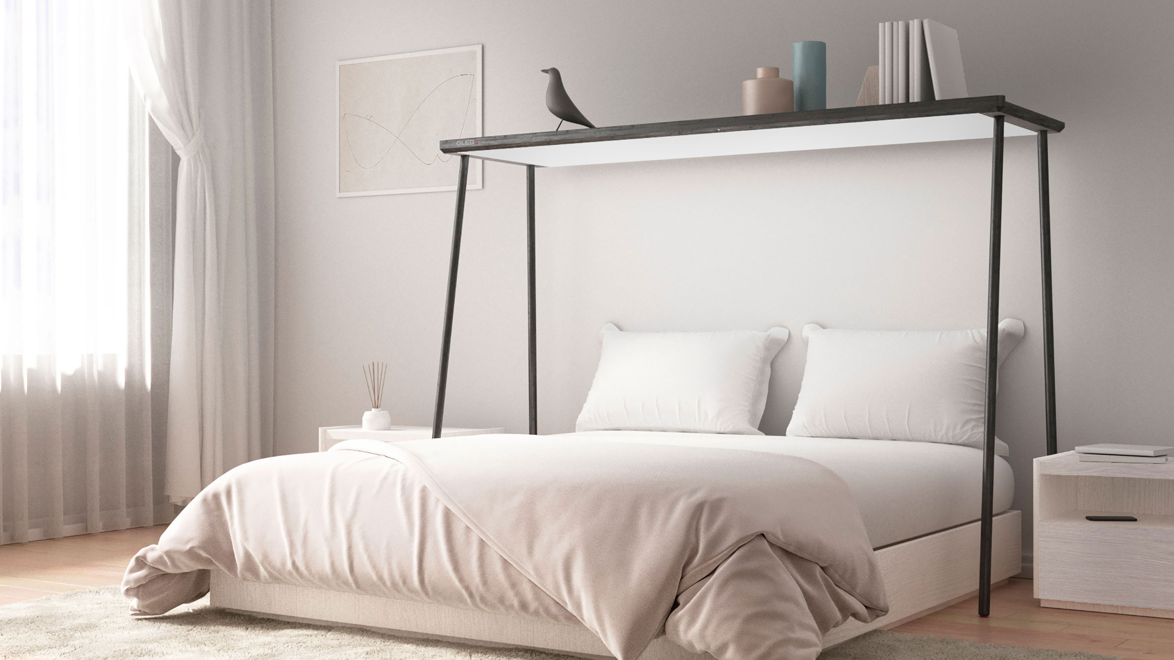 OLED TV panel hung above bed for laid-back viewing