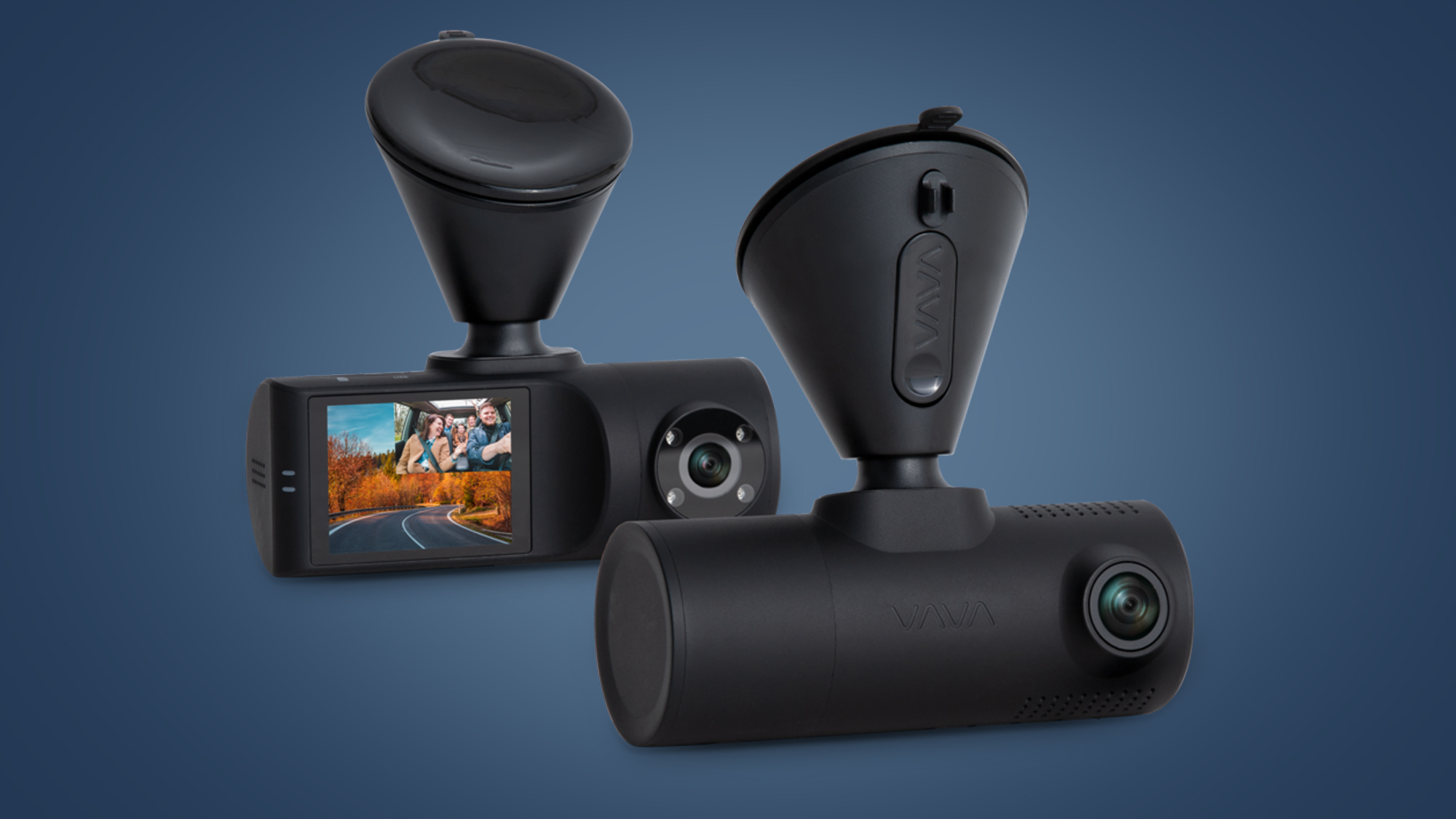 The front and rear cameras of the Vava 2K Dual Dash cam