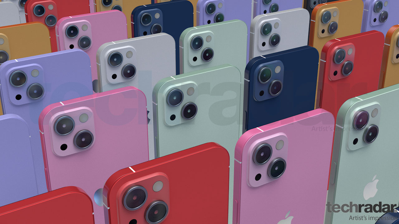 An artist's impression of the iPhone 13 in a variety of colors including red, pink and blue