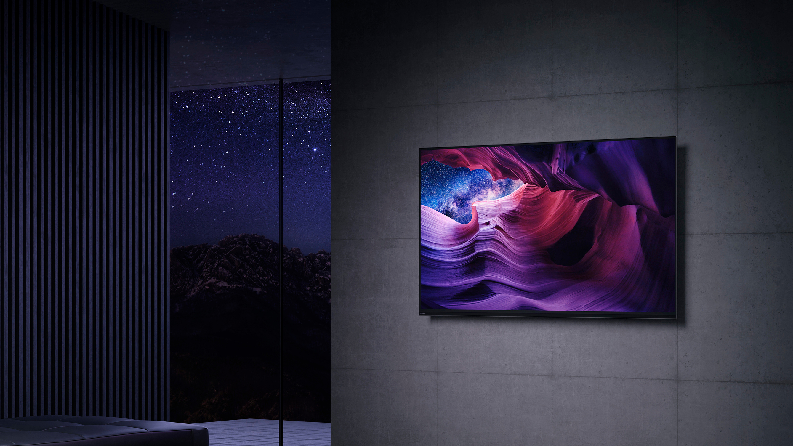 Sony OLED hanging on wall, showing purple cavern